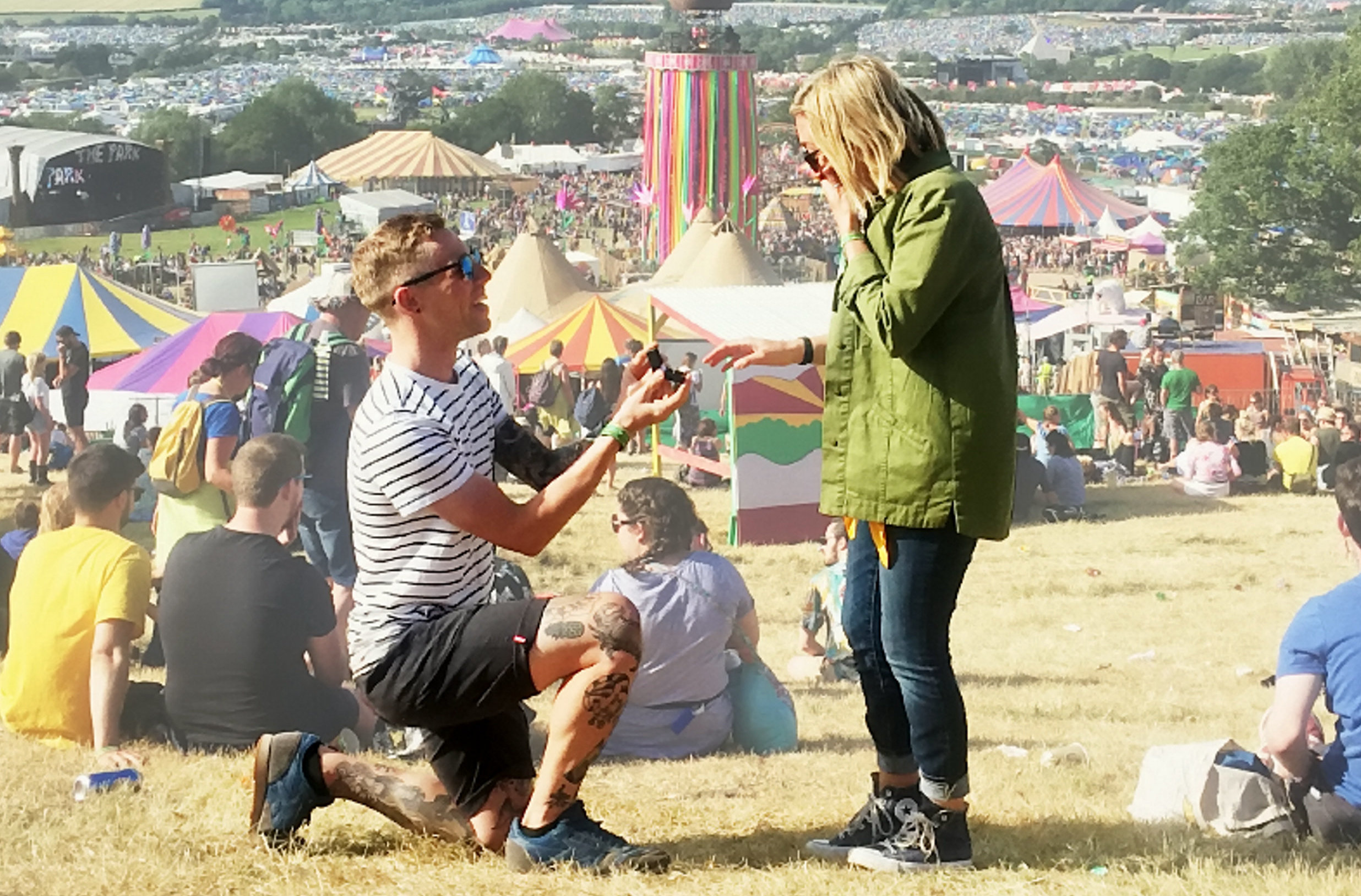 Jack proposed to Sarah in 2017... at Glasto. Credit: SWNS