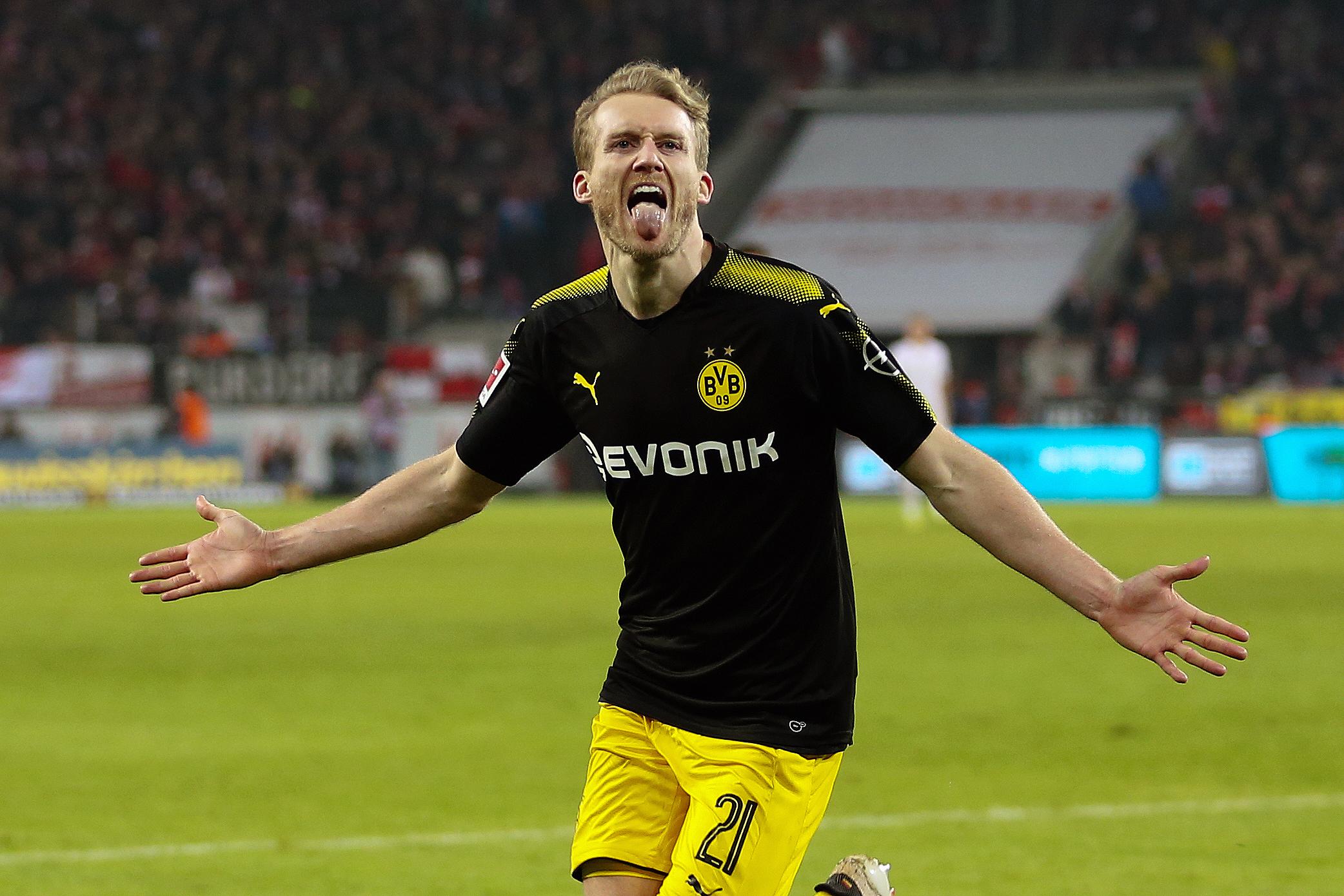 Schurrle celebrates scoring a goal. Image: PA