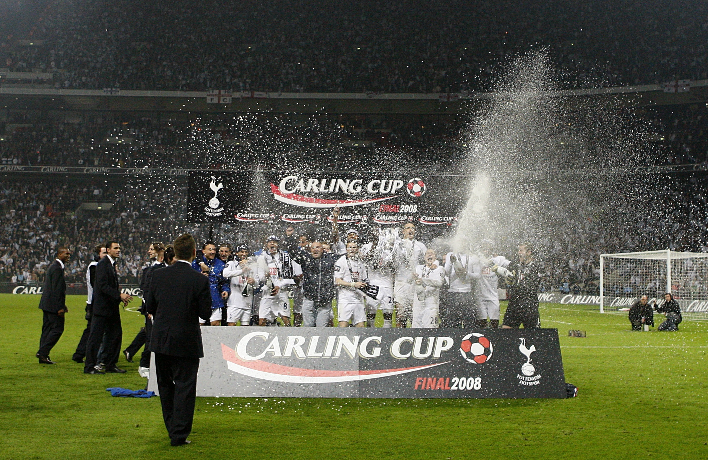 Spurs lift their last piece of silverware. Image PA Images