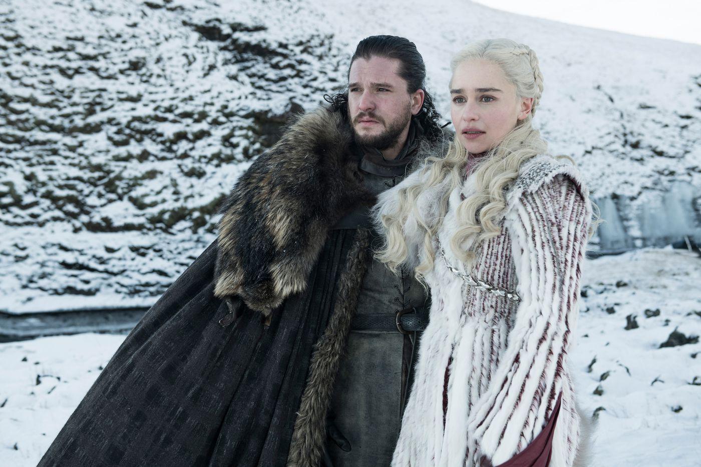 Jon Snow and Daenerys Targaryen in Game of Thrones. Credit: HBO