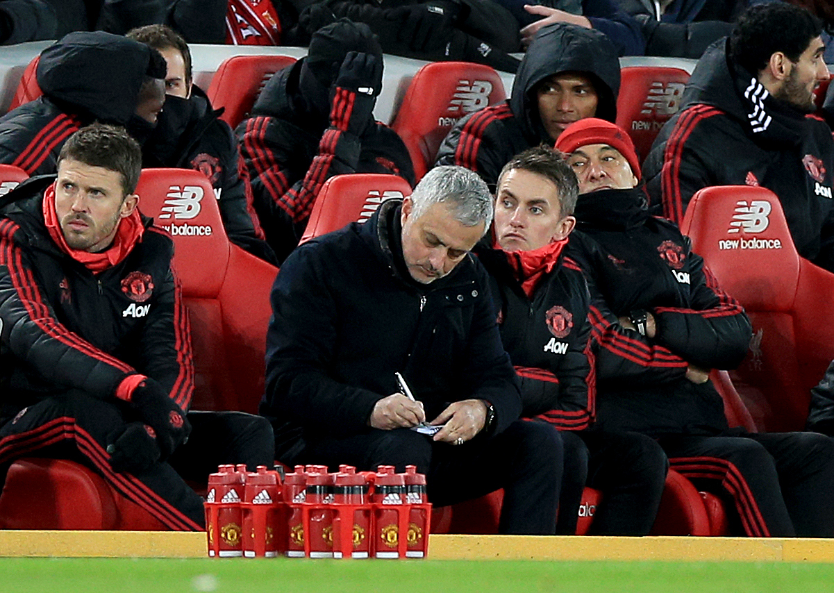 Mourinho circling the job vacancies during the loss to Liverpool. Image: PA Images