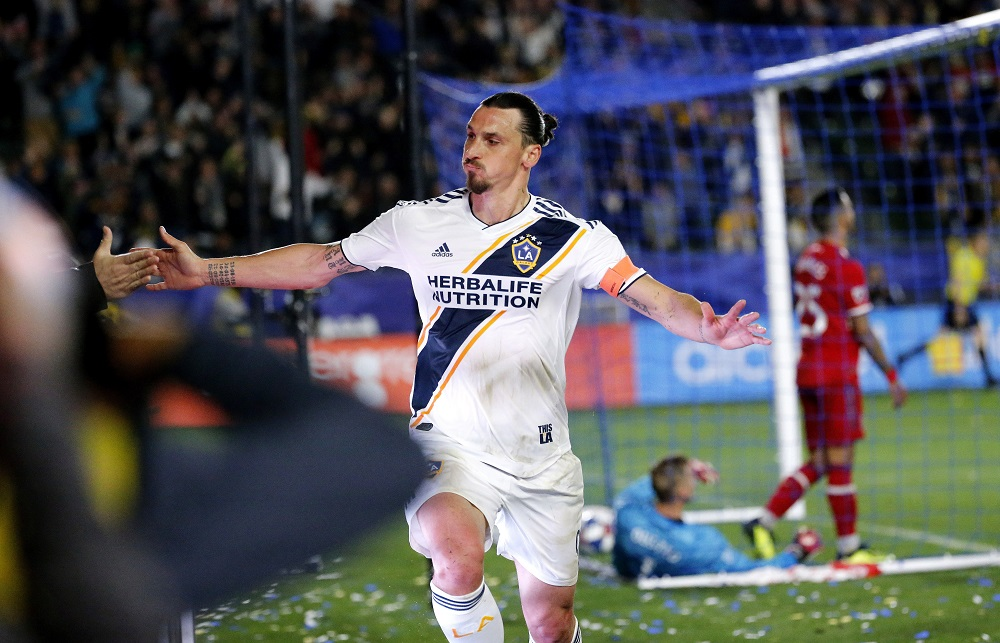Zlatan celebrates his first of the season. Image: PA Images