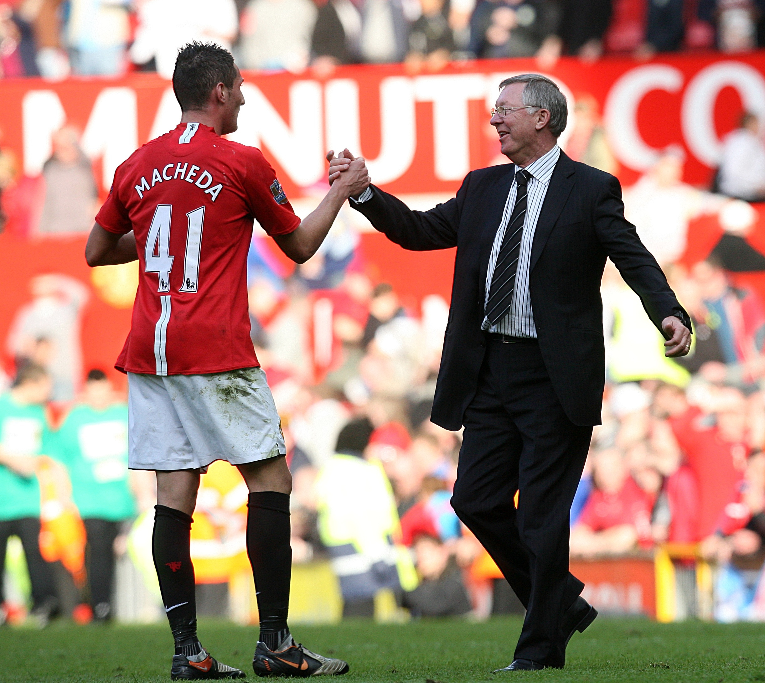 Macheda is congratulated by Sir Alex. Image: PA