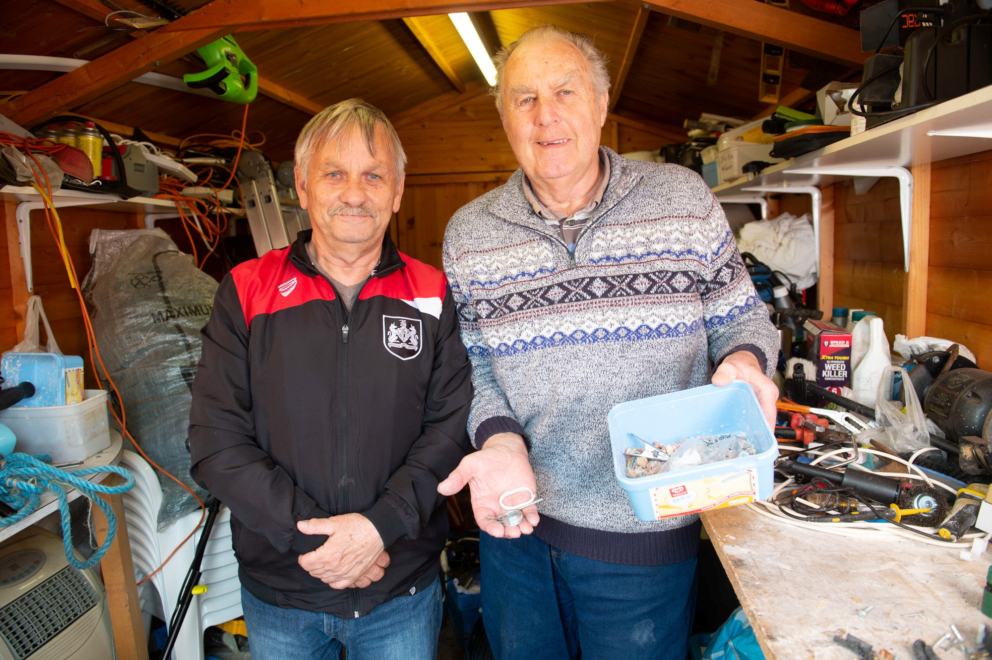 The two men were baffled when they found a mouse had been tidying the shed overnight. Credit: SWNS