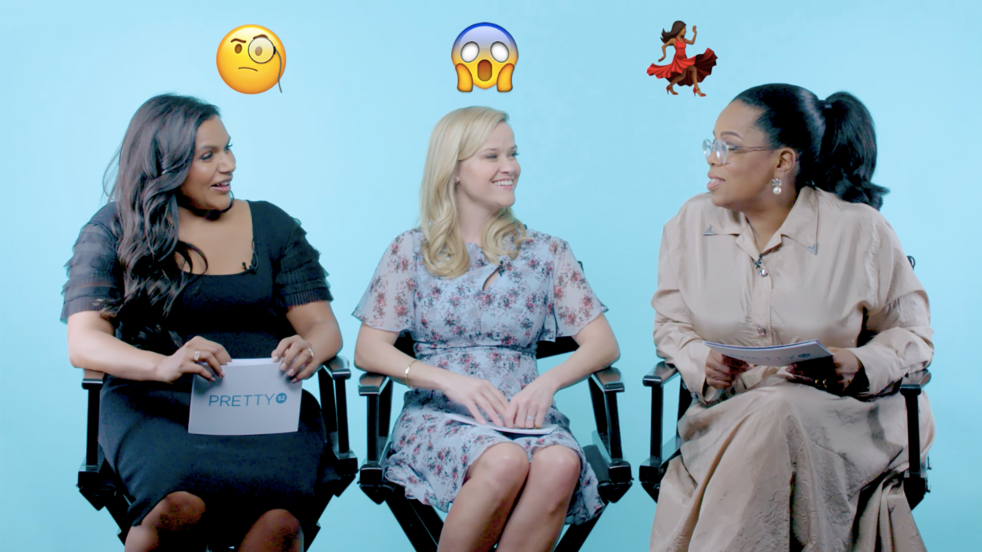 Oprah Winfrey, Reese Witherspoon And Mindy Kaling Play PRETTY52's 'Quickfire'