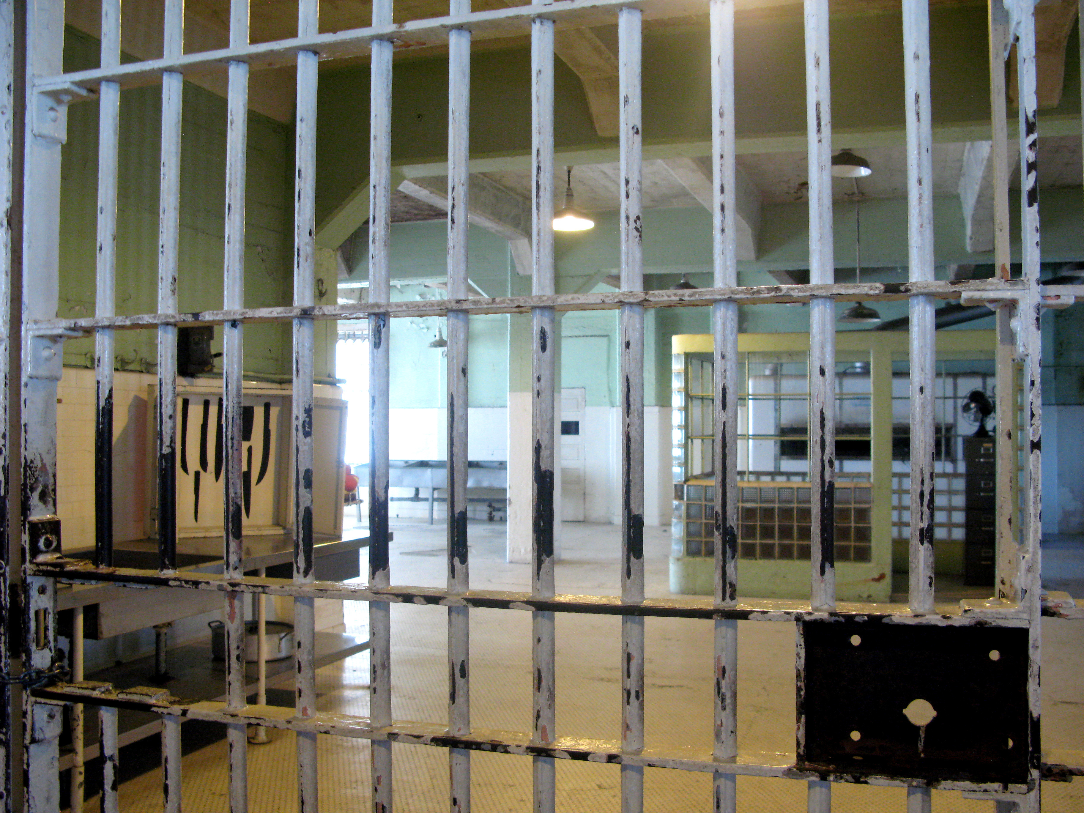 View from the mess hall to the kitchen at infamous Alcatraz prison. Credit: PA