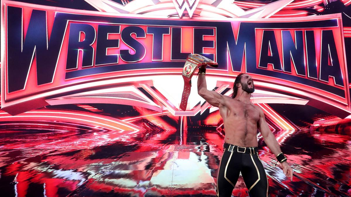 Rollins shows off his title belt. Image: WWE