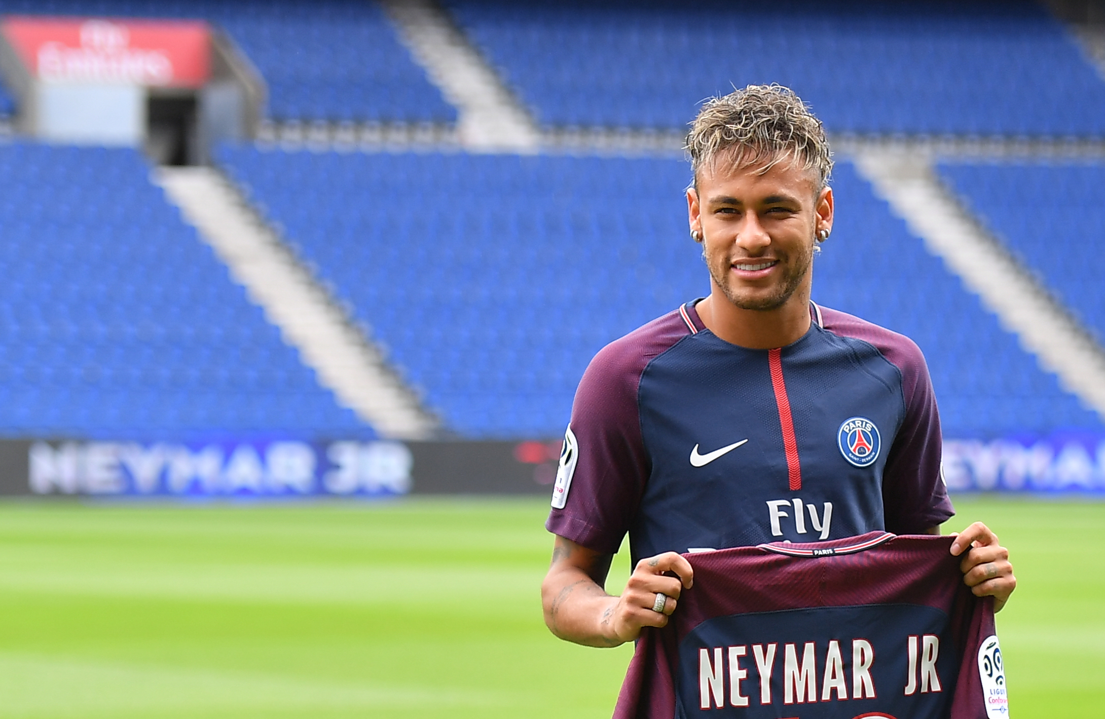 Neymar at his official PSG unveiling (Credit: PA)