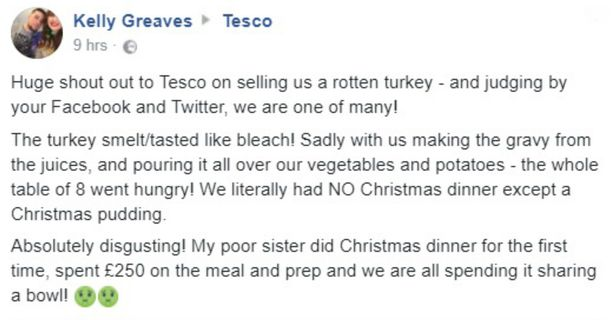 Tesco 'ruins Christmas' as dozens complain of 'rancid' turkey