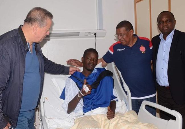 N'Diaye in hospital. Credit: Horoya AC/Instagram