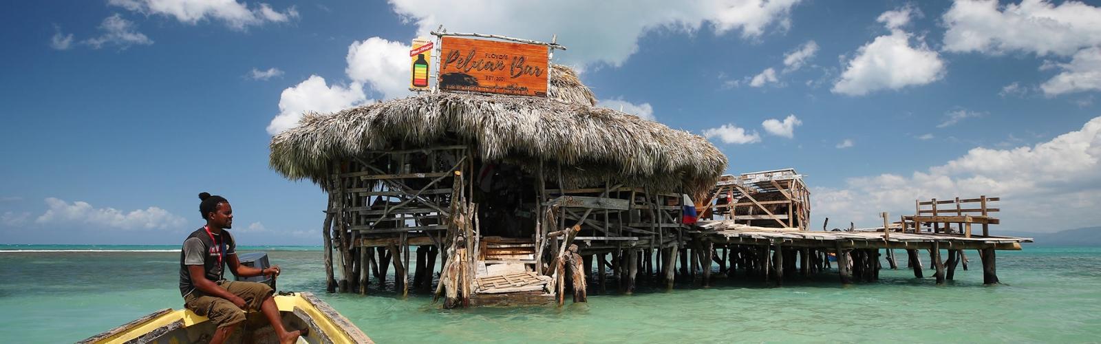 Floyd's Pelican Bar floats around a mile off Jamaica. Credit: Virgin Holidays