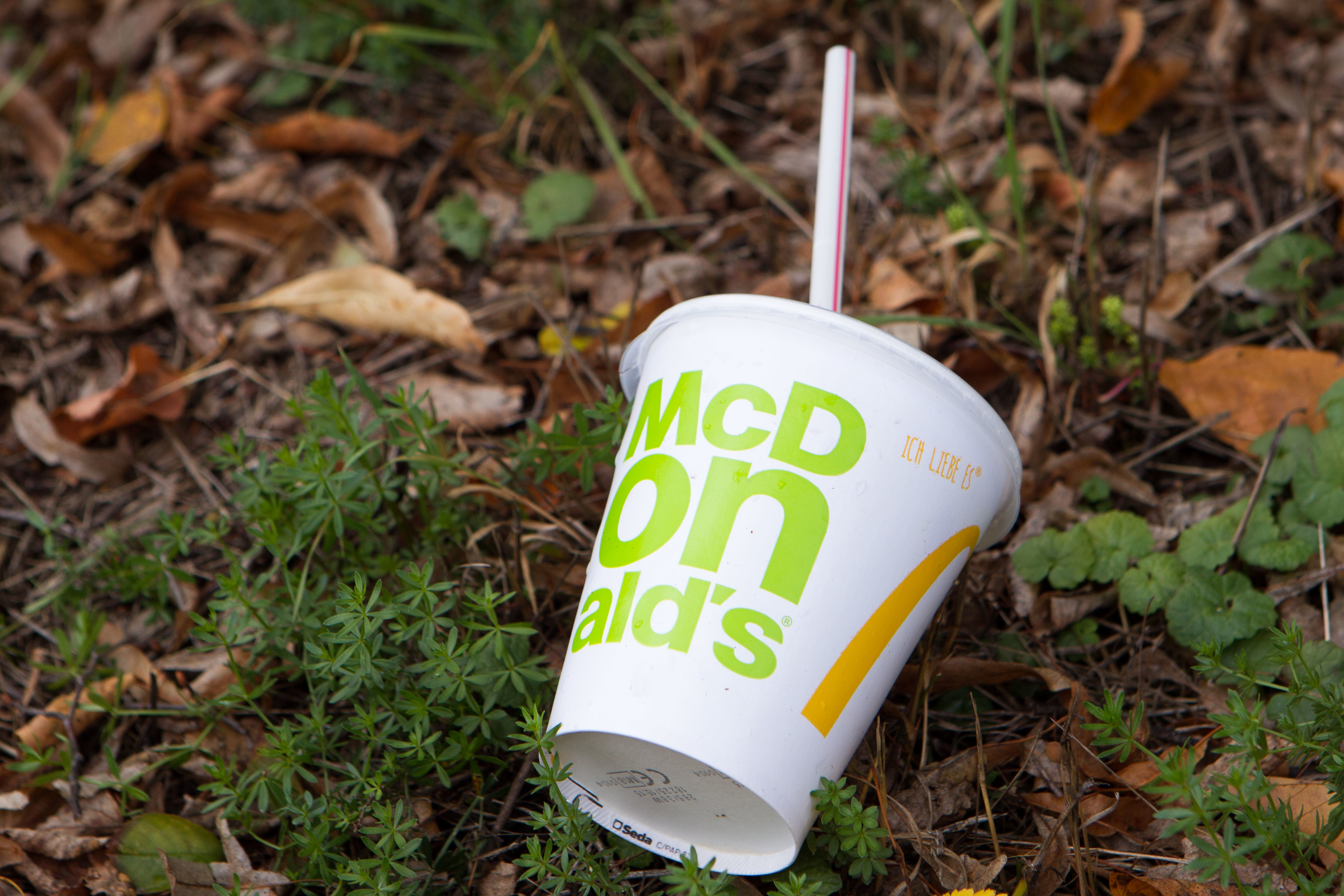 A McDonald's cup and straw. Credit: PA
