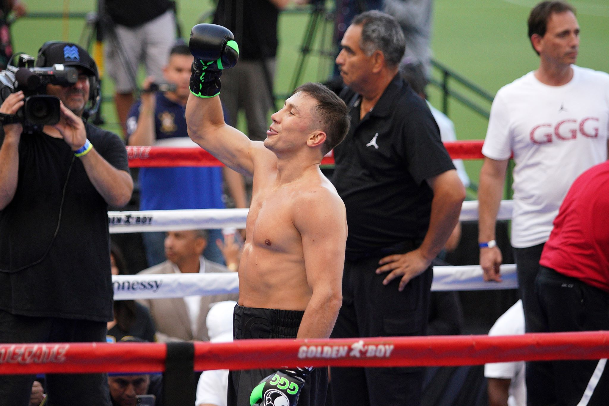 Golovkin during his media workout. Image: PA