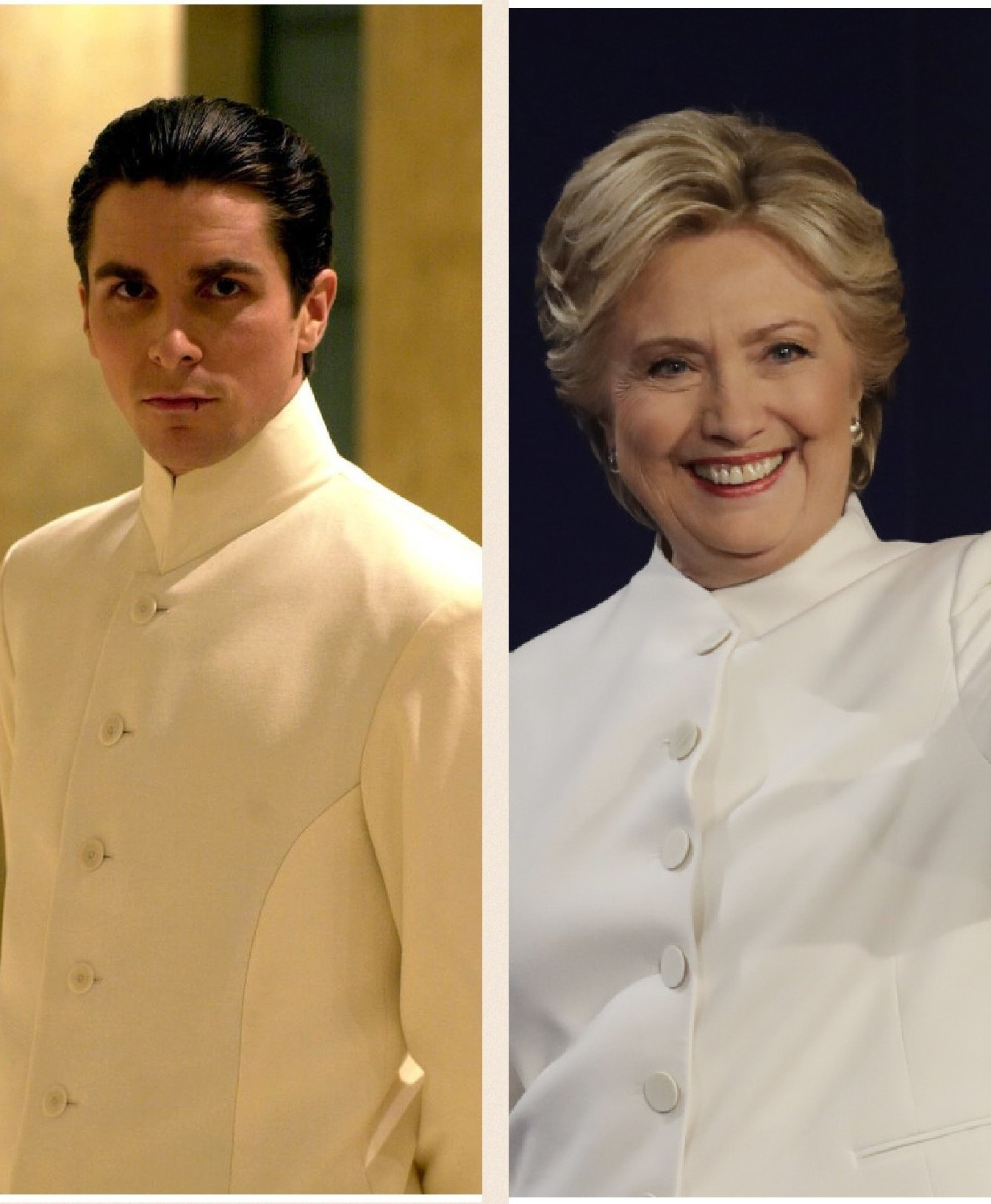 Hilary Clinton dressed as Christian Bale.
