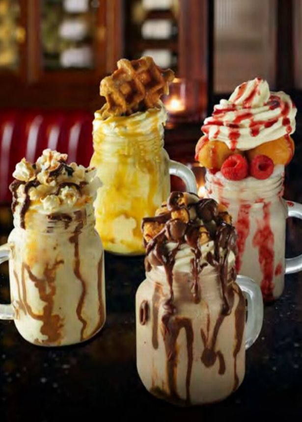 The Freakshakes on offer at Frankie and Benny's. Credit: Frankie and Benny's