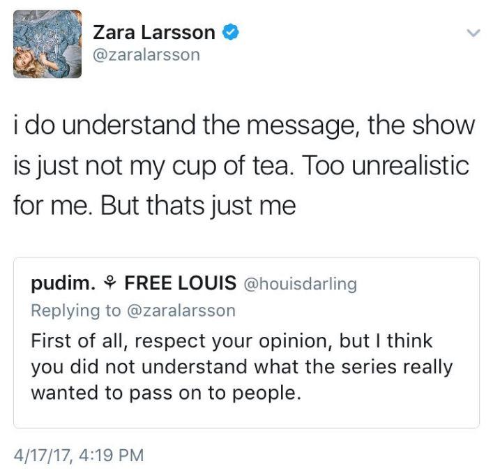 Zara Larsson Deletes Entire Tweet History After Slamming 13 Reasons
