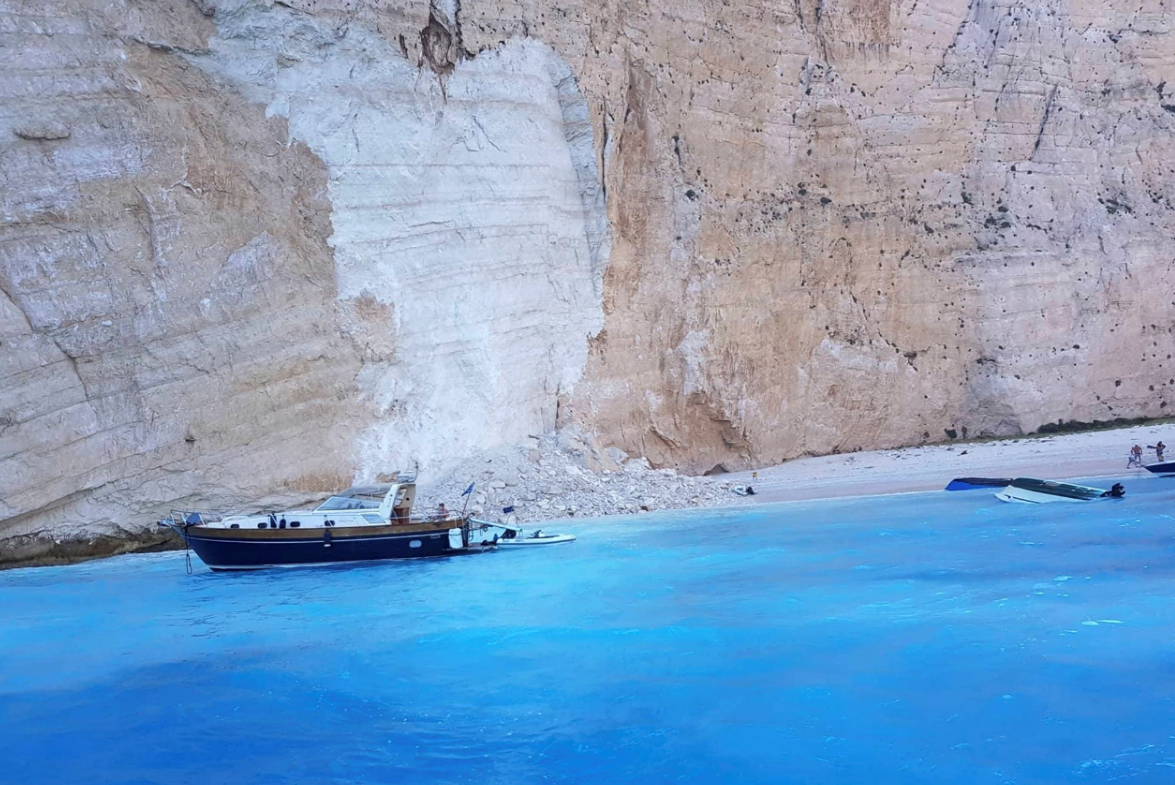Landslide at Greek beach on Zakynthos caught on camera