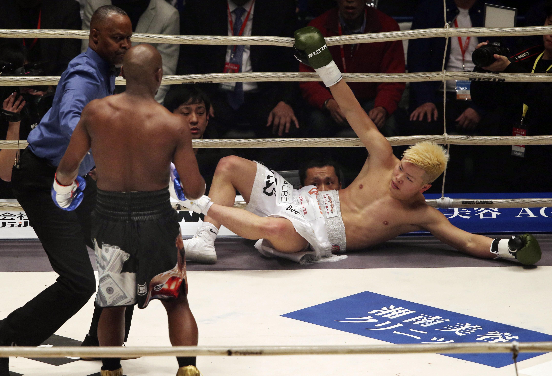 Tenshin Nasukawa was knocked out by Floyd Mayweather. Credit: PA