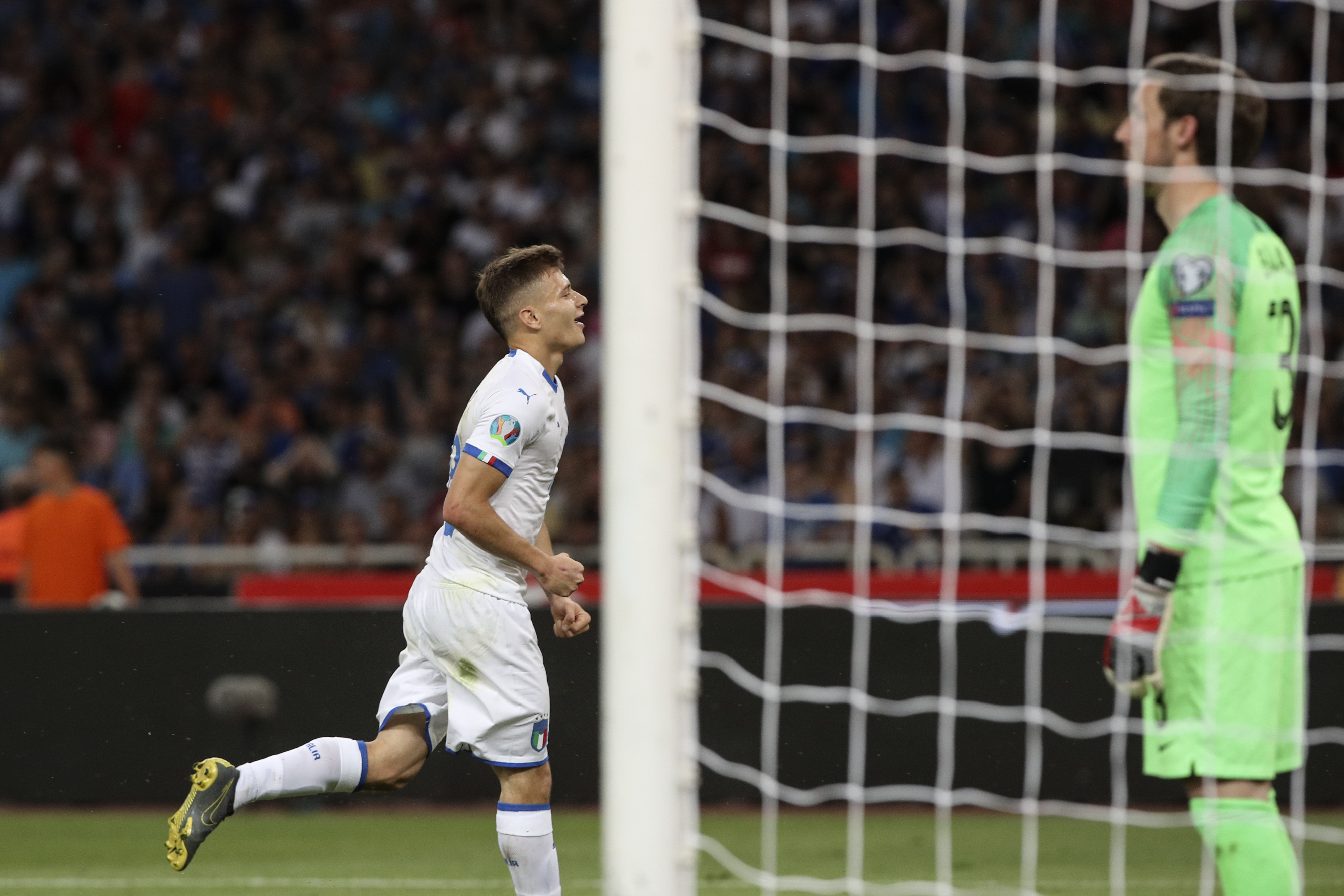 Barella after scoring Italy's opening goal of the game (Image Credit: PA)