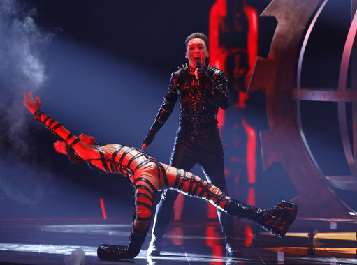 Hatari of Iceland perform the song 'Hatrio mun sigra' during the 2019 Eurovision Song Contest grand final. Credit: PA