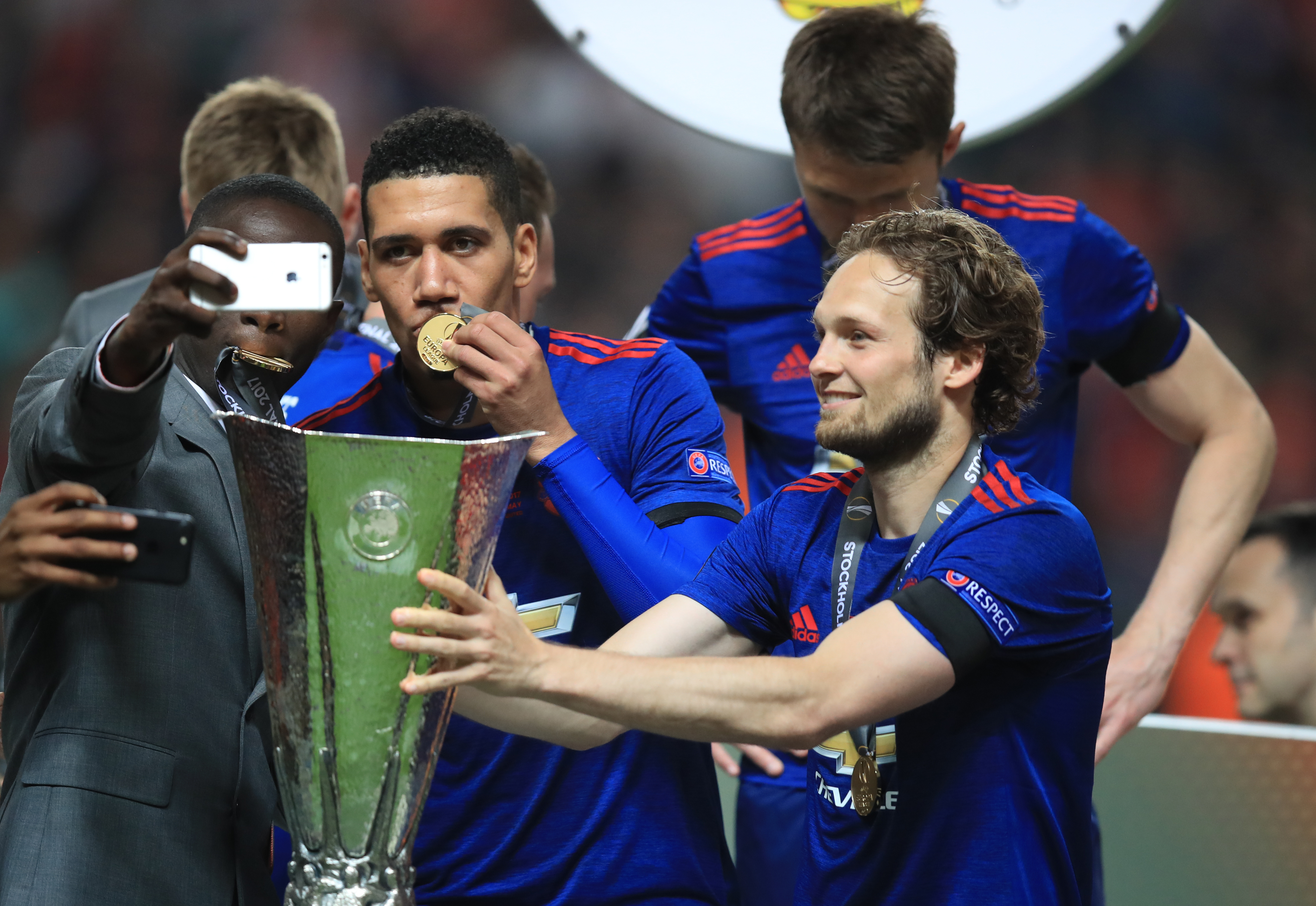 Blind celebrating United's Europa League victory in 2017, coincidentally a 2-0 victory over Ajax (Photo Credit: PA)
