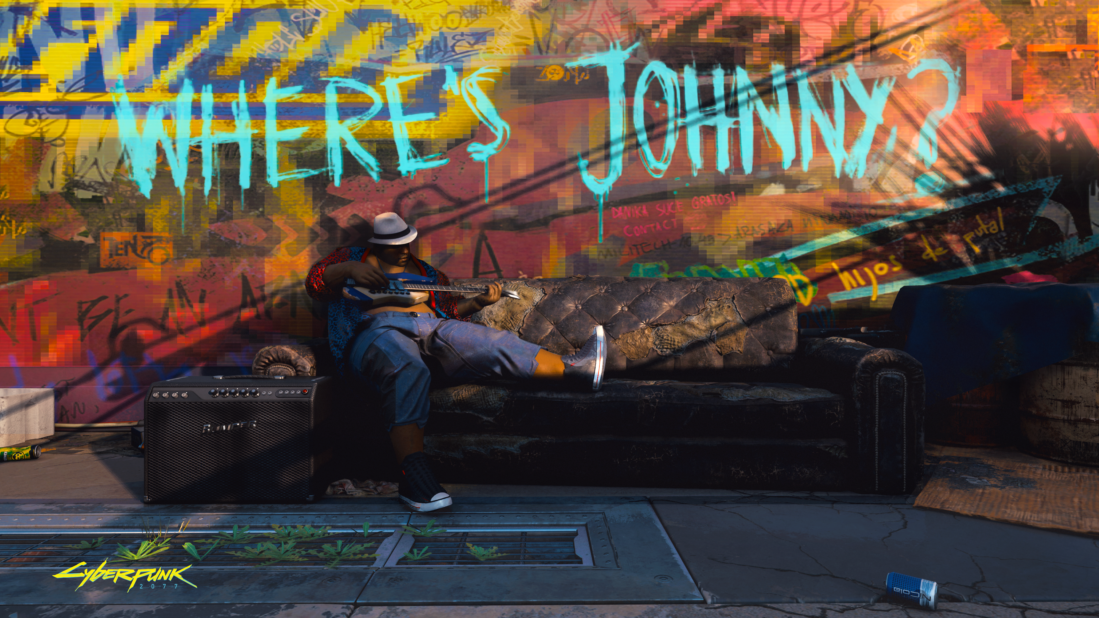 Graffiti scrawled around the city asks what happened to Johnny Silverhand
