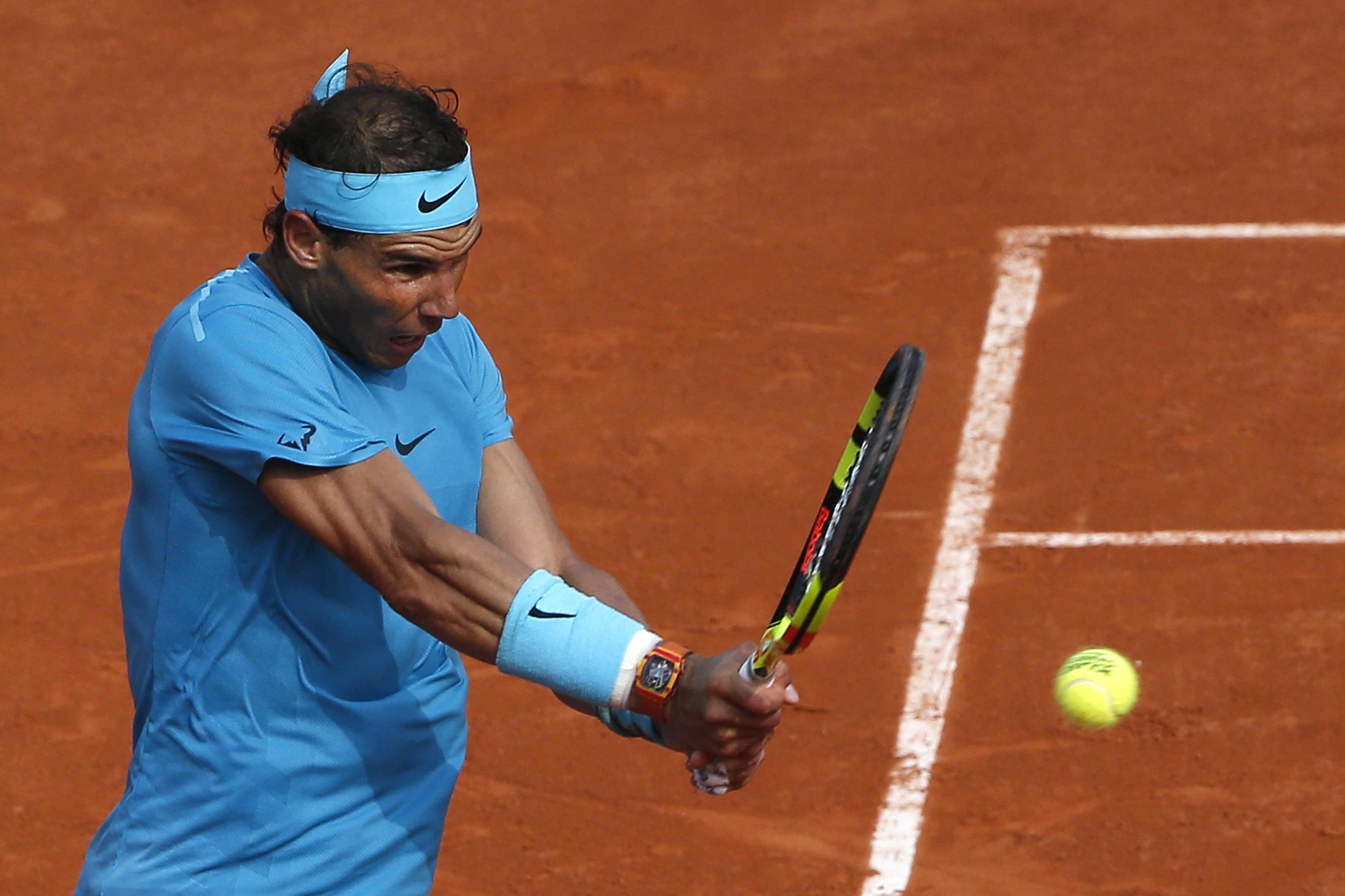 Nadal in action. Image: PA