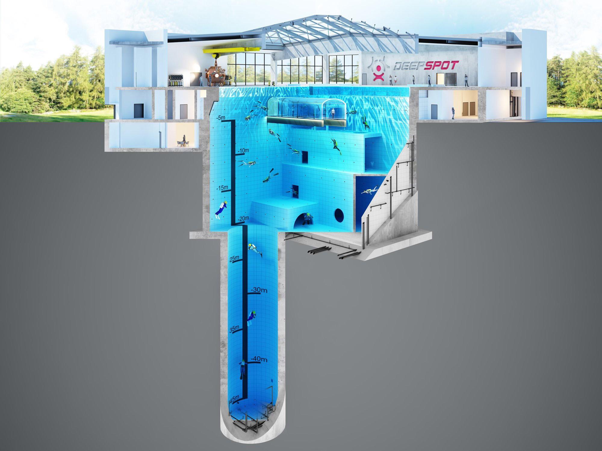 The pool will be 45 metres (148 feet) deep. Credit: CEN/@deepspotpoland