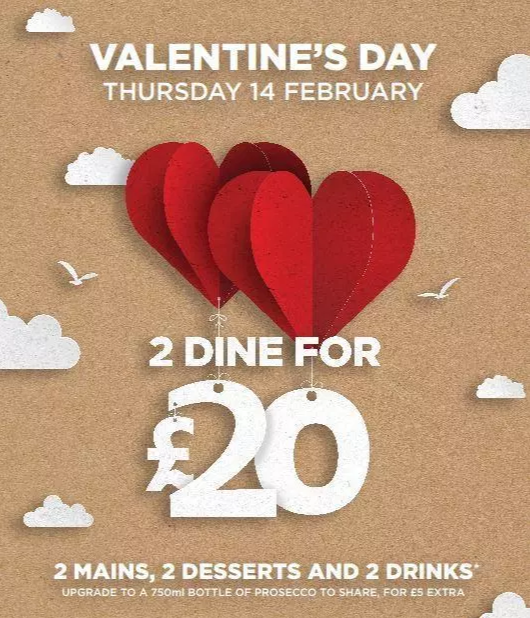 The romantic meal could be the perfect present for your lover. Credit: Wetherspoon