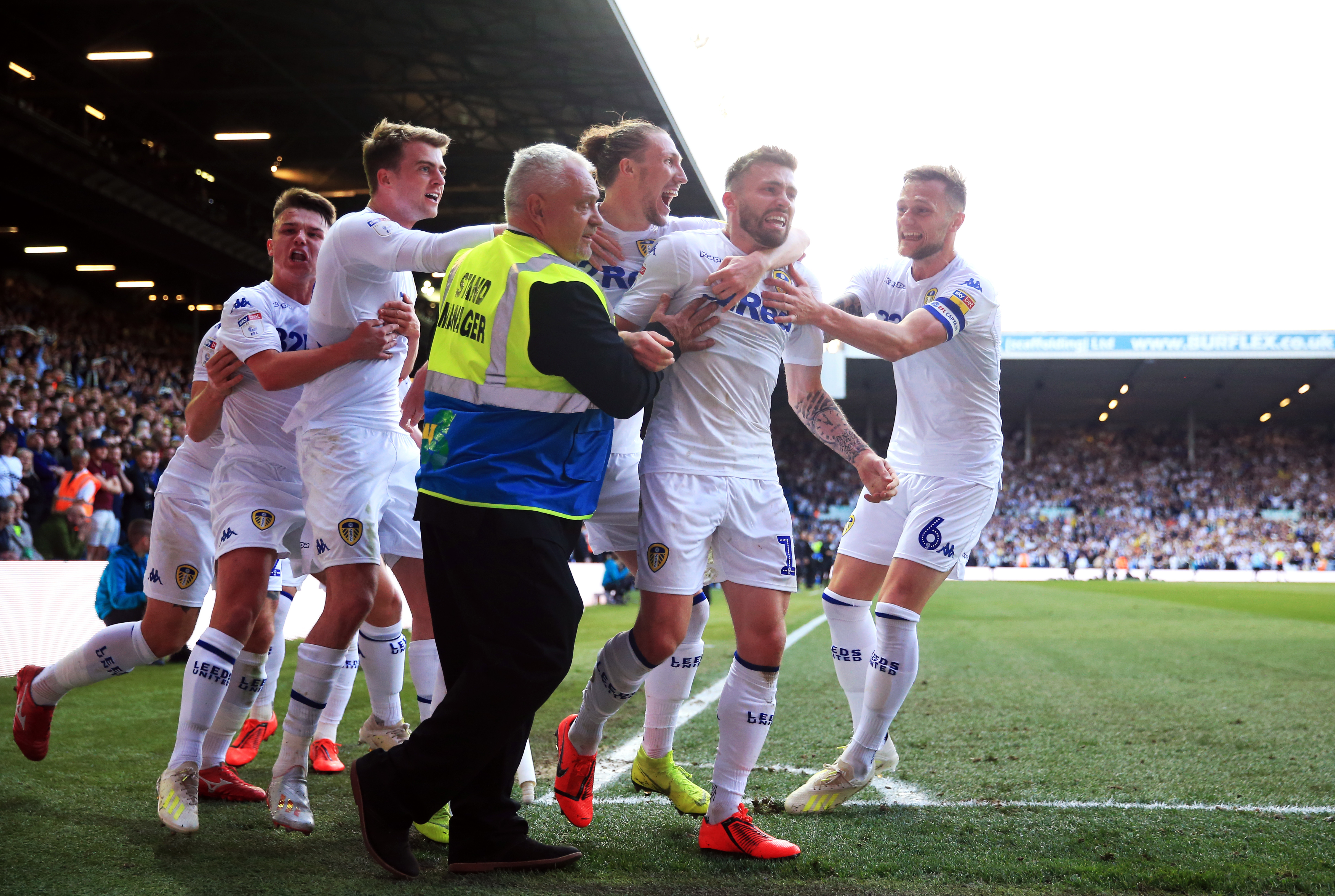 Leeds celebrate Stuart Dallas' goal. Image: PA Images