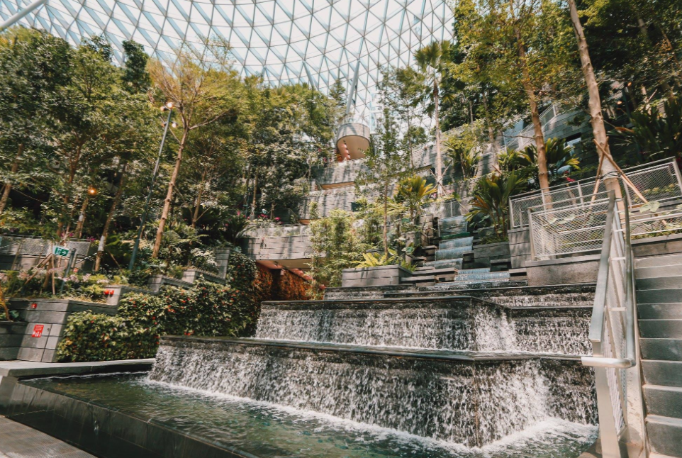 The swanky airport has undergone a revamp and now includes an indoor rainforest. Credit: Changi Airport