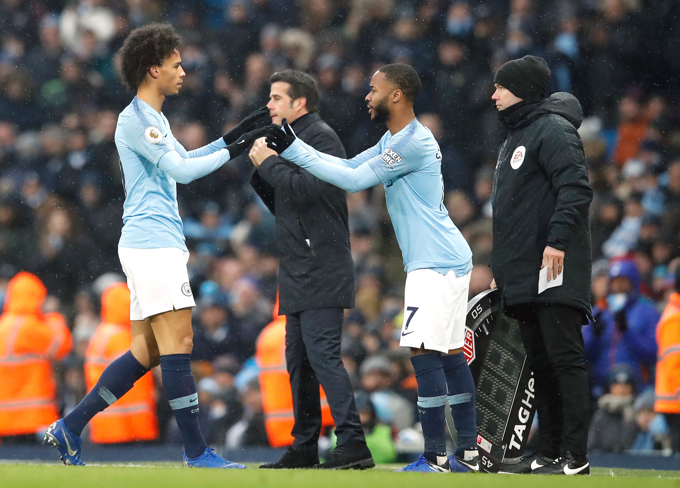 Sterling and Sane have to share duties at the Etihad. Image: PA Images
