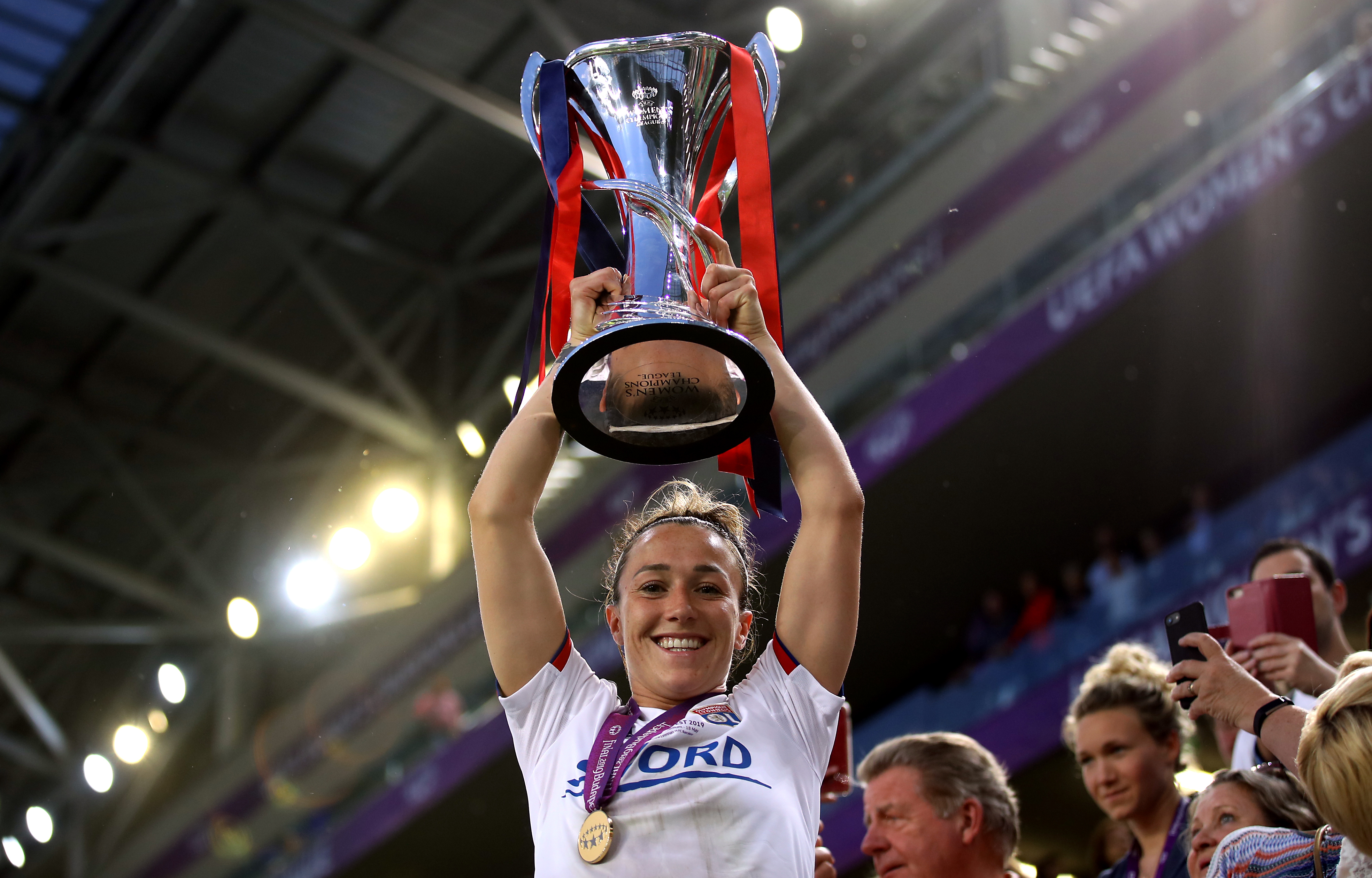 Lucy Bronze with the Champions League trophy. Image: PA Images