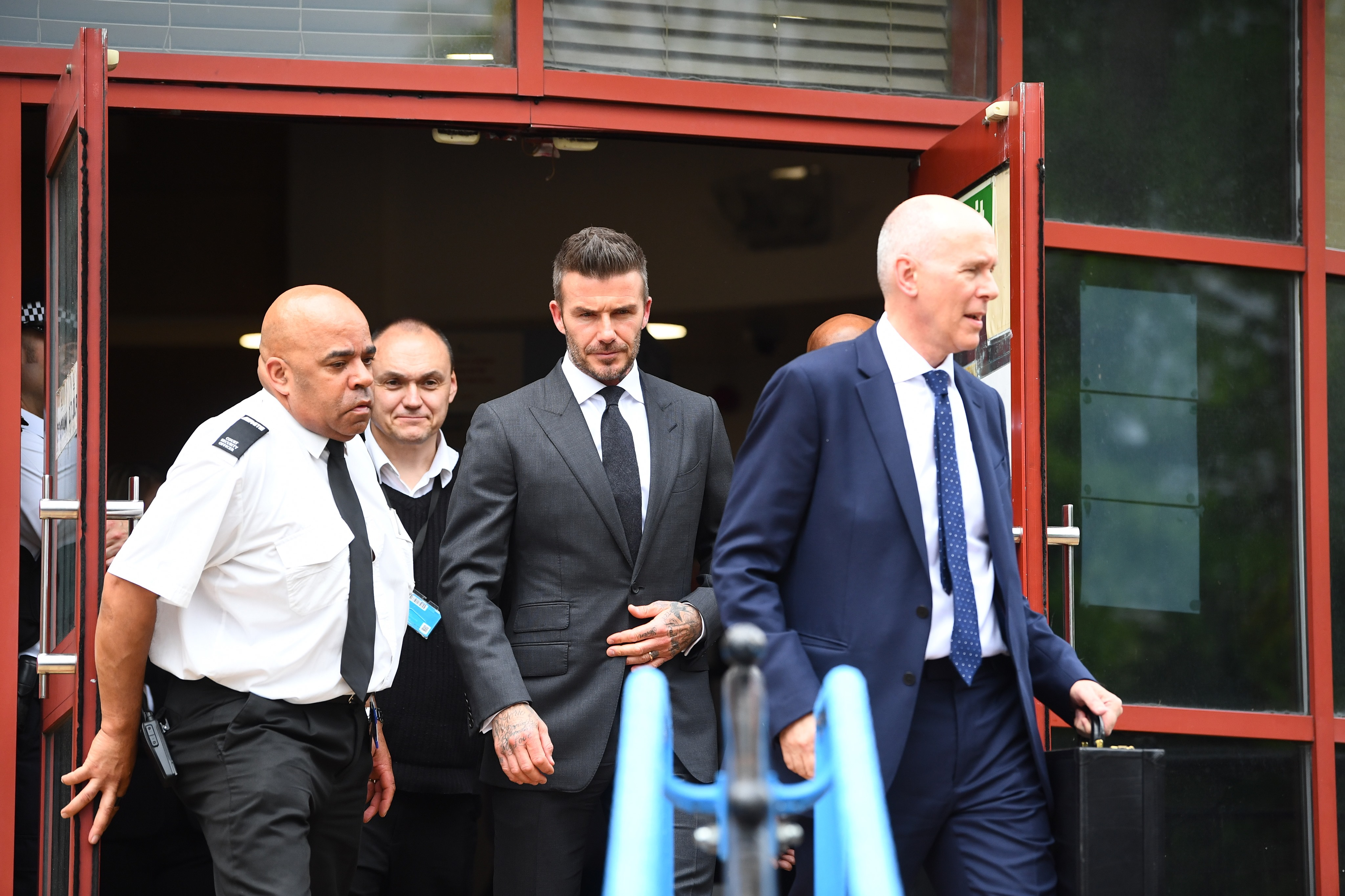 Beckham leaving court. Credit: PA