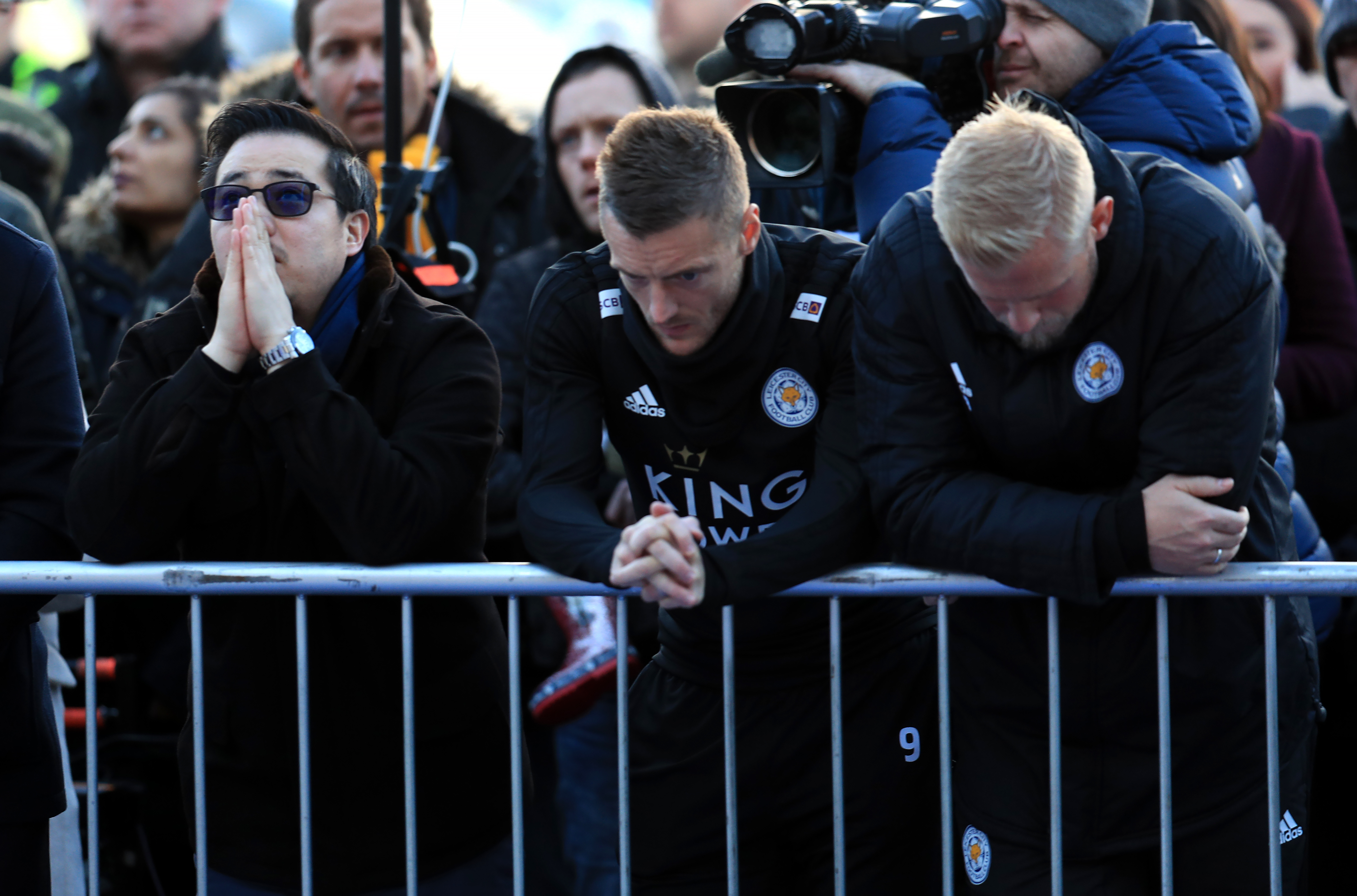 Leicester City owner's family lay wreaths after deadly helicopter crash