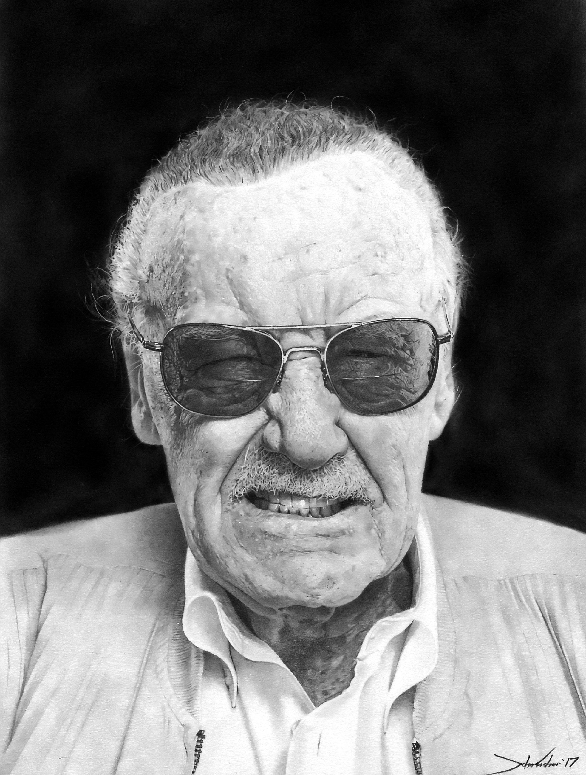 John draws celebrities as well as pets and people - here's Marvel legend Stan Lee. Credit: SWNS