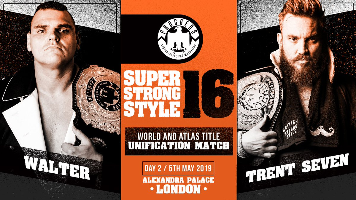 Either Walter or Trent Seven will walk out with both belts after night two. Image: PROGRESS Wrestling.