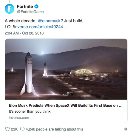 Elon Musk tweets response to fake Fortnite-purchase story