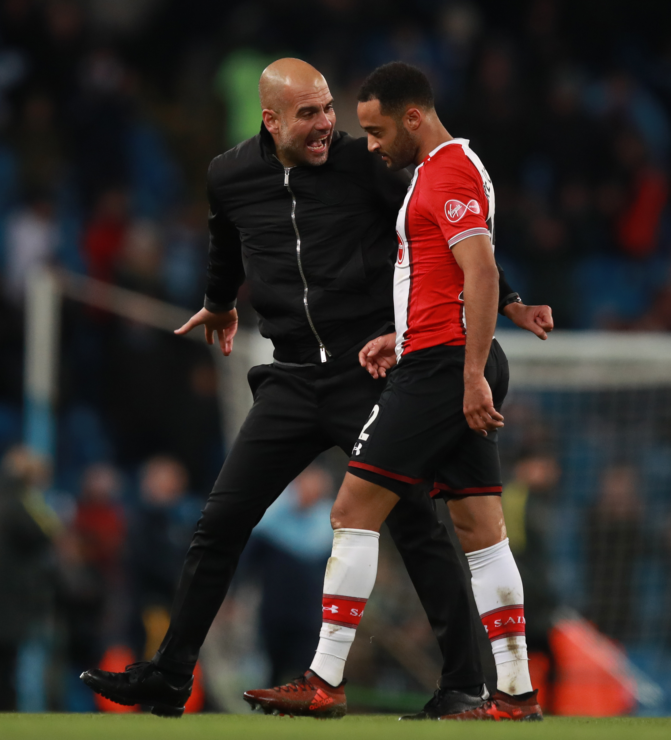 Nathan Redmond makes his point after Pep talk