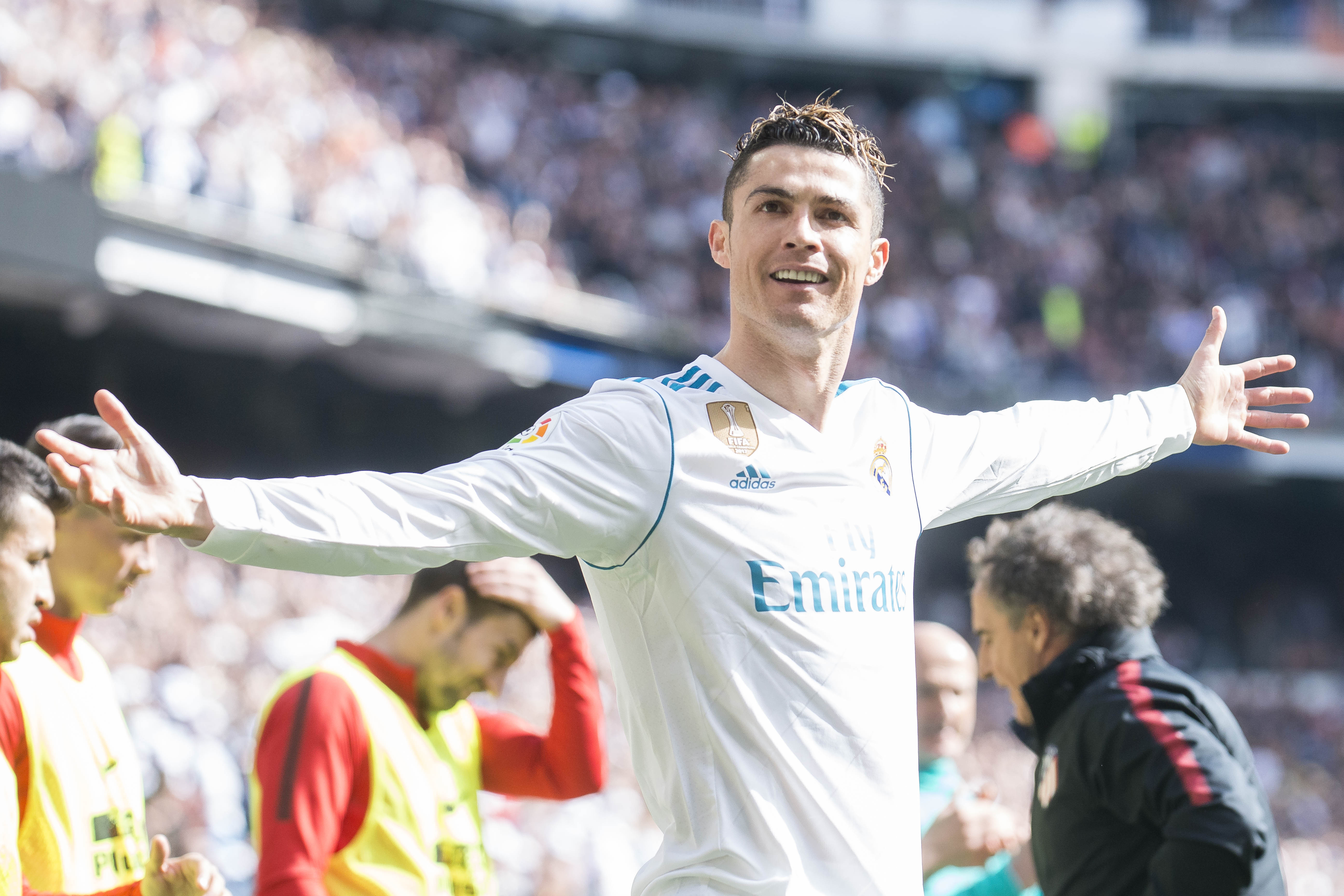 f5ec6716298e4a Ronaldo celebrates scoring the opening goal in the Madrid derby. Image  PA