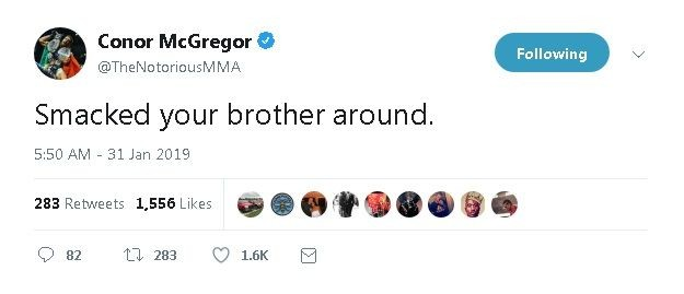 McGregor's latest, now deleted, tweet. Image: RT Sports