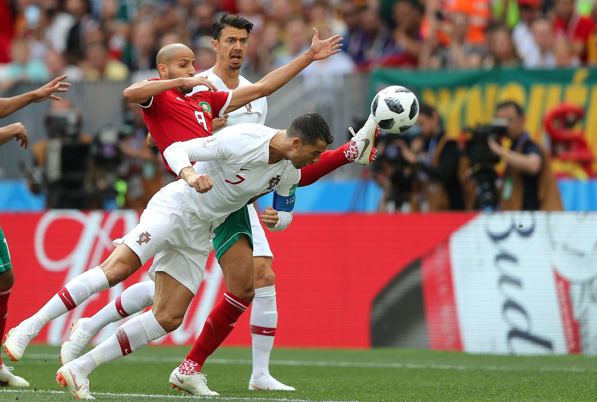 Ronaldo heads home his fourth goal of the tournament. Image PA Images