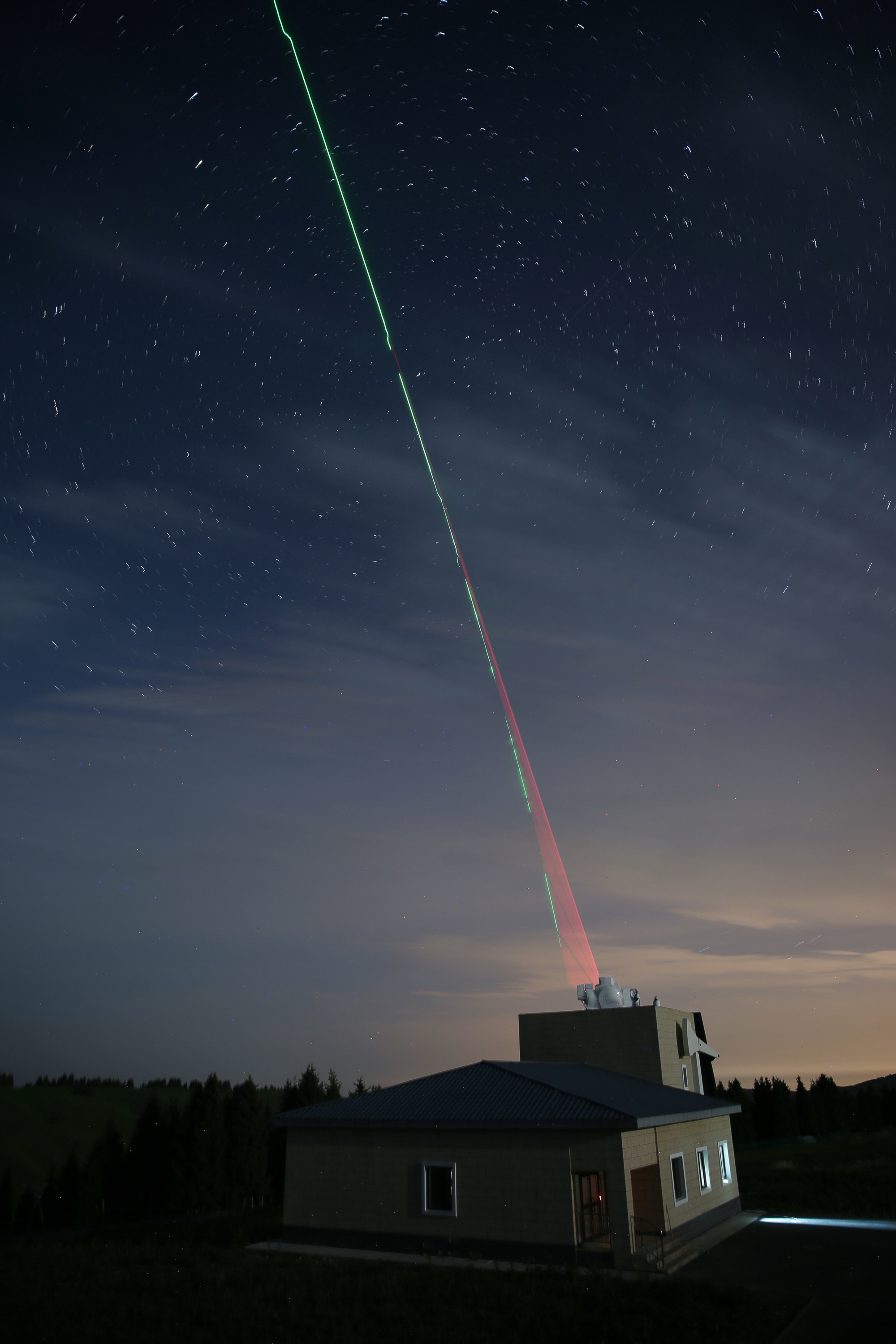 Photons being transmitted to space