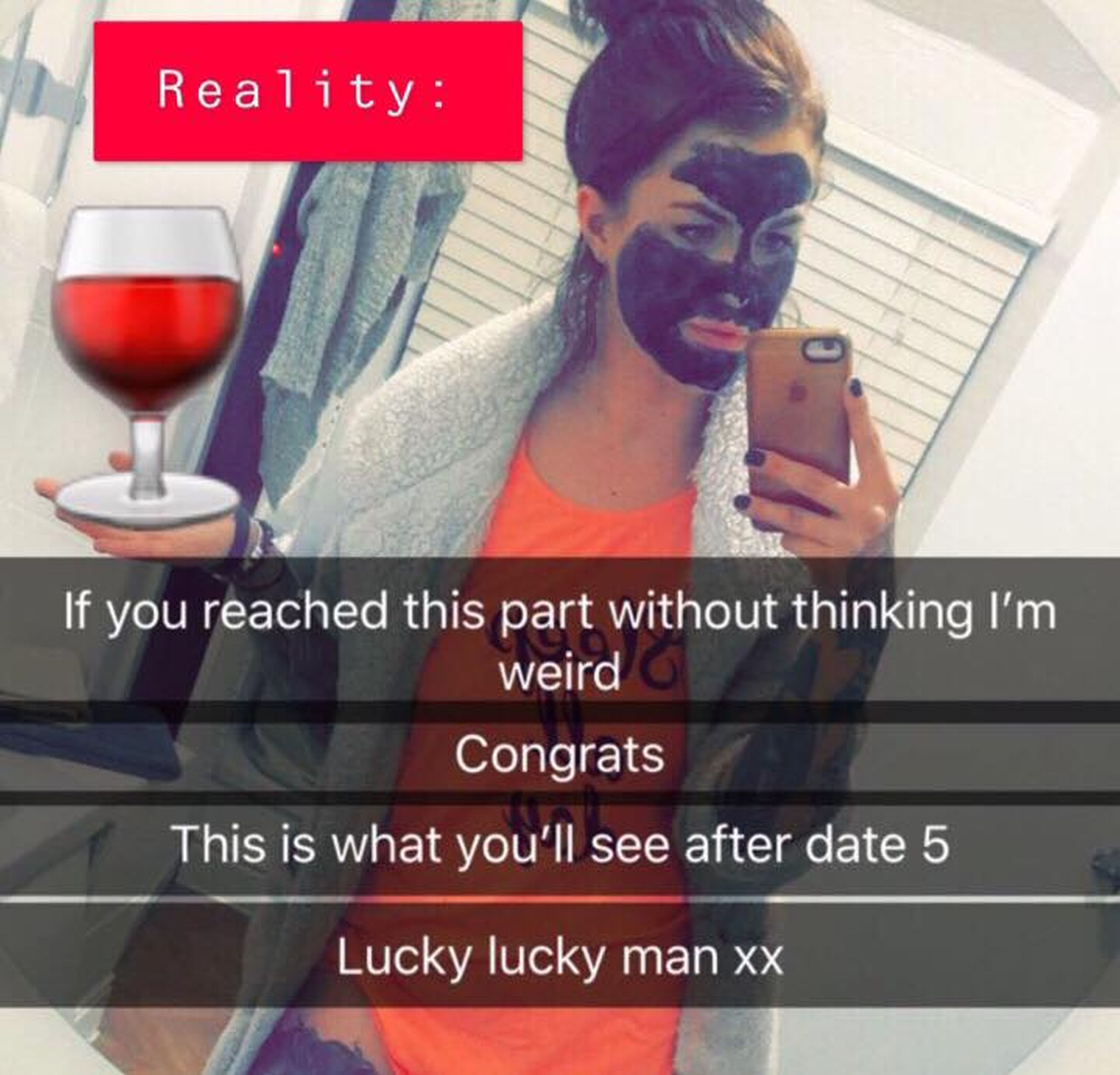She said she will be wearing a face mask by date five. Credit: Kennedy News