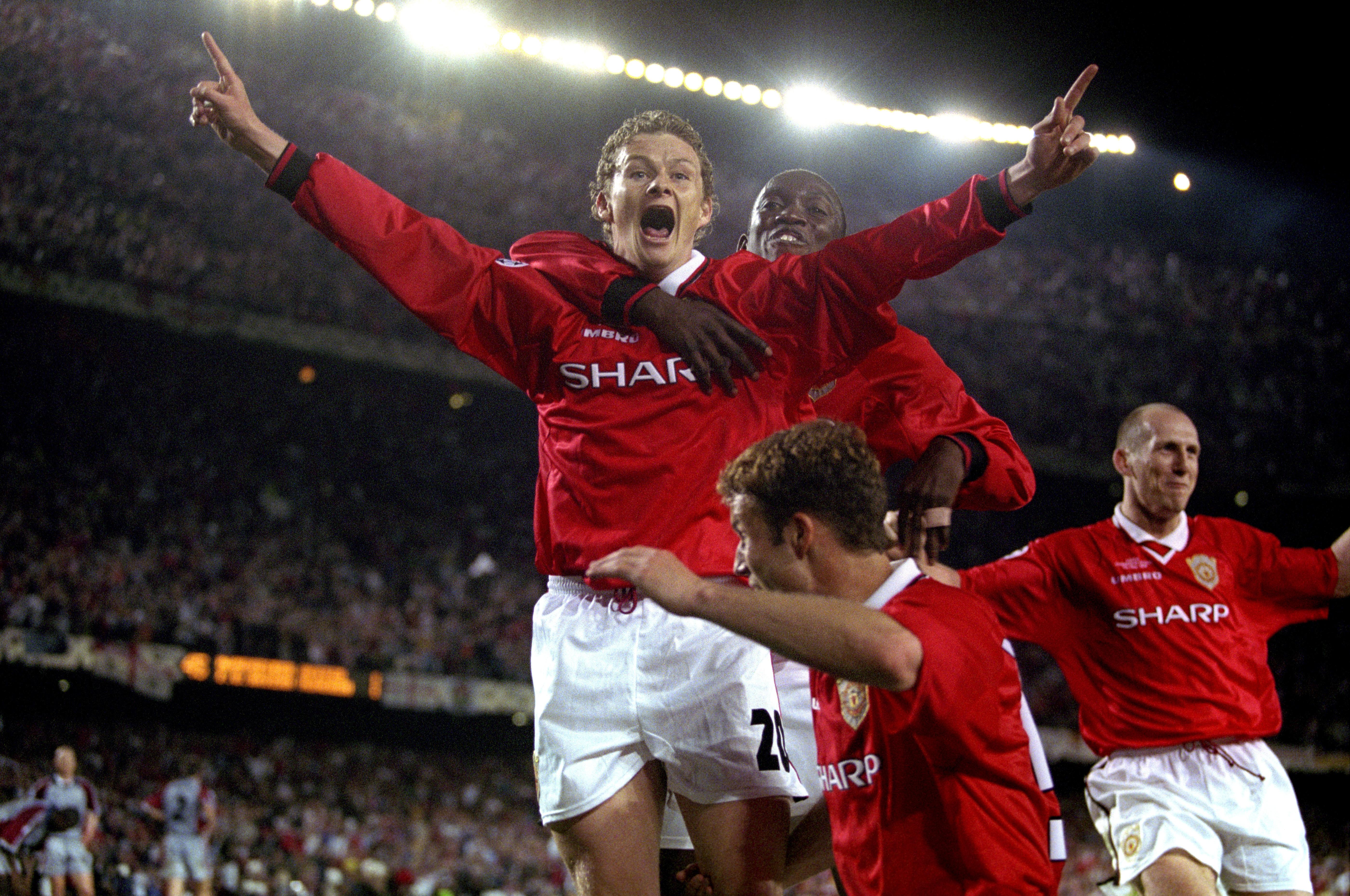 Solskjaer celebrates his infamous goal. Image: PA Images