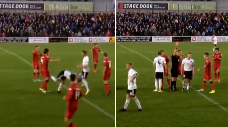 Ayr Striker Craig Moore Sent Off For Kicking Opponent In The Balls