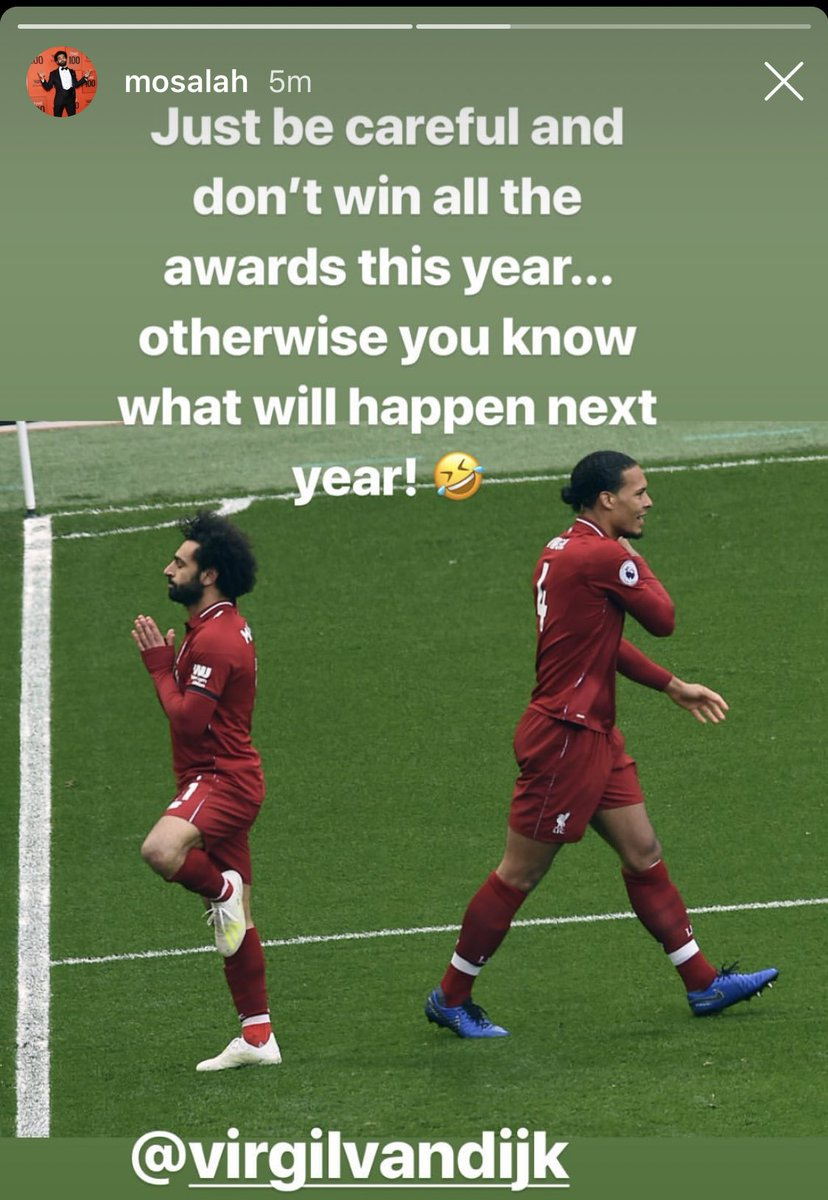 Mohamed Salah Hilariously Reacts To Virgil Van Dijk Winning Pfa Player Of The Year Sportbible