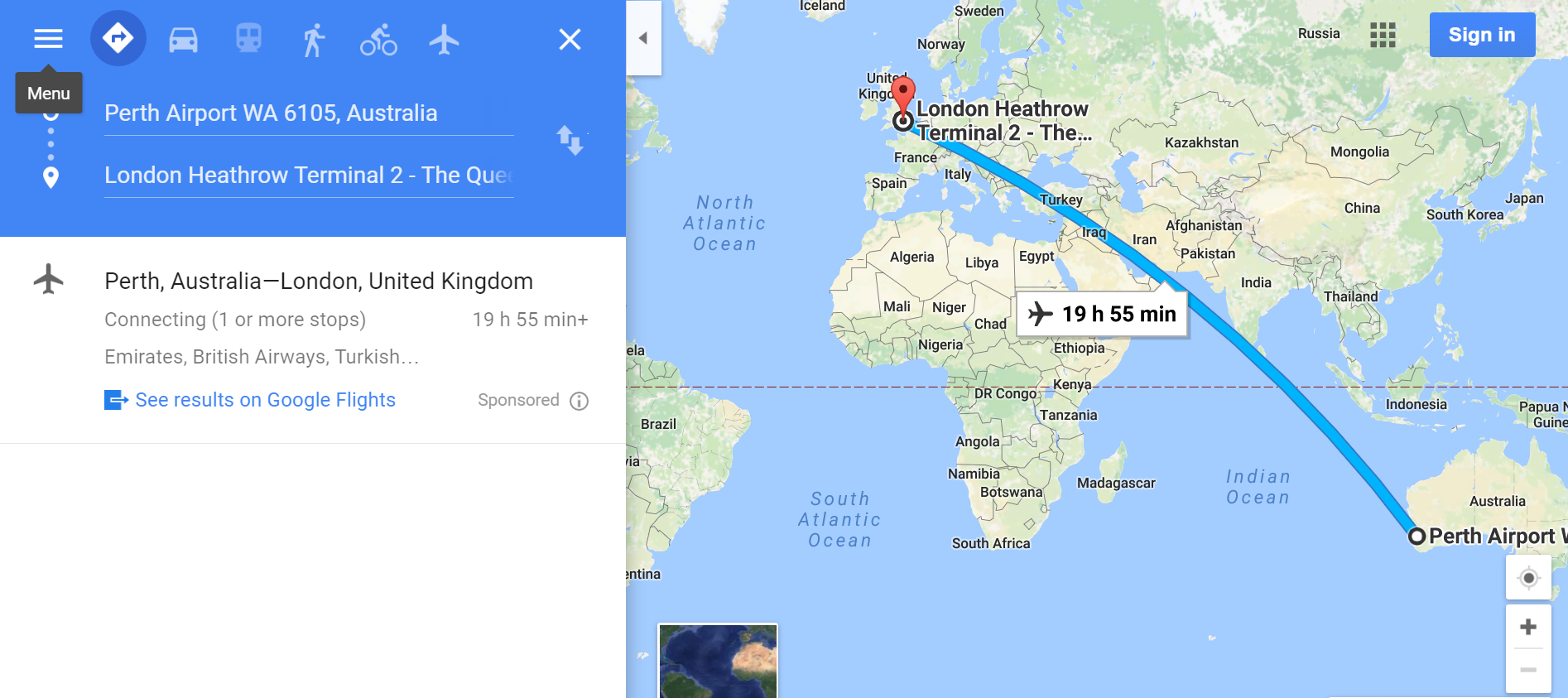 Worlds longest direct flight time will see people go from london to just in case you failed geography at school credit google maps gumiabroncs Gallery