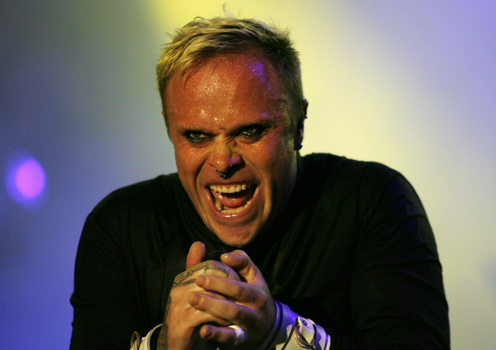 Keith Flint on stage. Credit: PA