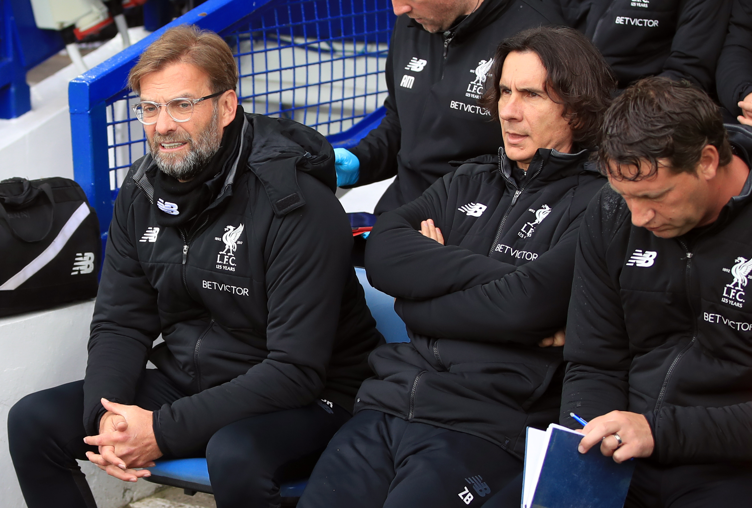 Klopp takes his seat Goodison Park. Image PA